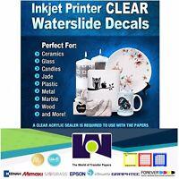 "5Sh 8.5""x11"" Inkjet Printable Water Slide Decal Transfer Paper CLEAR"