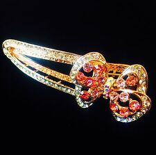 USA Seller Hair Clip Claw Rhinestone Crystal Hairpin  Bowknot Gold Pink