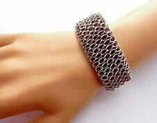 BROWN CHAINMAIL FAUX LEATHER CUFF veggie vinyl bracelet steampunk larp punk Q2