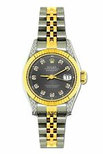 LADIES 26MM ROLEX WATCH 18K GOLD SS DIAMOND CASE WATCH WITH GRAY DIAL