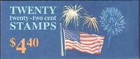 SC#BK156 - 2276a - 22c Flag & Fireworks Booklet of 20 MNH P#2222