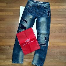 """Young Republic Men's Jeans Size 33 ~ 2 Toned Distressed Patches 34"""" Inseam NWOT"""