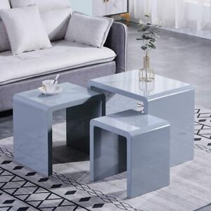 3 Nesting Tables In Grey High Gloss Coffee Side Table Multi-function Living Room