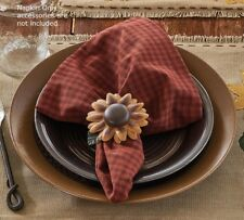 Primitive Country Sunflower Blooms Napkin Dark Red Check Cotton Farmhouse Linens