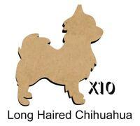 MDF Shape Dog 10 LONG HAIRED CHIHUAHUA MDF cutouts keyring 5 SIZES DOGW159