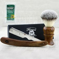 Men's Shaving Brush With Synthetic Hair & Round Shavette Razor +FREE 5 BLADES