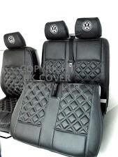 VW TRANSPORTER T5 VAN SEAT COVERS DOUBLE GREY BENTLEY STITCH + VW LOGO
