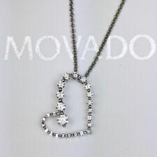 Movado 18K White Gold Round Diamond Open Heart Pendant Necklace
