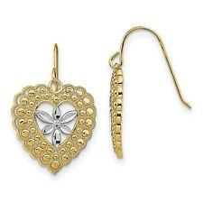 Flower Center and Beaded Heart Wire Earrings In Real 14k Yellow Two Tone Gold