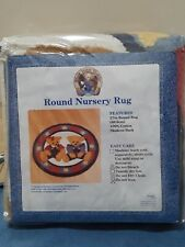 "Vintage Springs Blue Jean Teddy & Blossom Bear Round Cotton Nursery Rug 27"" New"