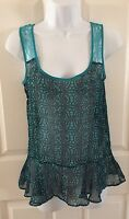 Selena Gomez sheer blue lace tank top blouse sheer Small S Dream out Loud