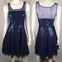 $350 Betsey Johnson Evening Women's 4 Navy Blue Mesh Silk Sequin Flare Dress