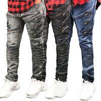 MENS JEANS biker DENIM Fashion ZIPPER Designed SLIM Fit Biker Distressed PANTS