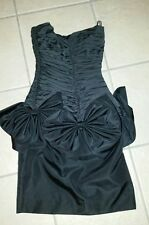 Vtg 80s Prom Dress Huey Waltzer for Darcy Black Ruched Bow Party Cocktail Sz 3/4
