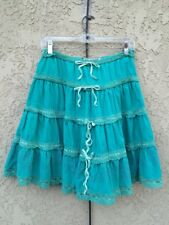 Da Nang Gypsy tiered A-line Skirt Stitches Embroidery corduroy Sz L (approx 6)
