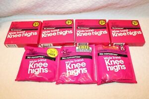 Lot of 9, Vintage No Nonsense Wide Band Knee High, 30 Tan, Sandalfoot, One Size