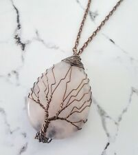 Rustic copper wire wrapped tree of life pink rose quartz stone sweater necklace