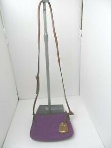 Dooney & Bourke Purple Nylon & Brown Leather Trim Crossbody Purse 8 x 6 x 2