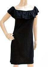 French Connection Black cotton summer frilly dress Size 12/14 abito nero volants