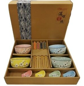 Japanese Chinese Style Rice Bowl Gift Set of 4- UK Seller, Fast Delivery