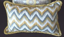 PAIR NEW Oblong Grey Yellow Gold FLAME STITCH Cushion cover with Fringe Trim