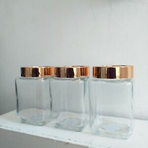 Set of 3 Glass Jars with Copper Lid Kitchen Storage Tea Coffee Sugar Canisters