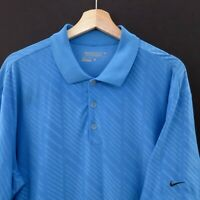 Mens Nike Golf Polo Shirt Size L Short Sleeve Dri Fit Blue