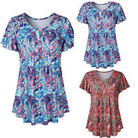 Summer Women Casual Short Sleeve Shirt Blouse Ladies Loose T-shirt Top Plus Size