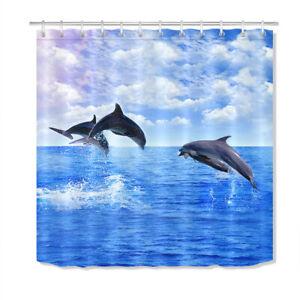 Blue Sea Jumping Dolphin Polyester Fabric Shower Curtain Set Bathroom w/ Hooks