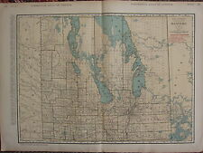 1922 LARGE AMERICA MAP MAINITOBA SHOWING RAILROADS PRINCIPAL CITIES RAND MCNALLY