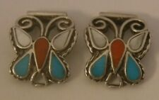 Navajo Indian Sterling Silver Butterfly Turquoise Coral MOP Inlay Watch Tips