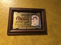"""Vintage Coca Cola Relieves Fatigue Delicious 5c Mirror Art Sign Coke ~13"""" X 9"""""""