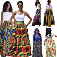 Plus Women's African Floral Print Maxi Skirts Ladies Line Long Skirts W/ Pocket