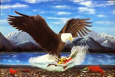 """American Bald Eagle Artist Print- """"Fly Fishing a Good Catch on a Summer's Day"""""""