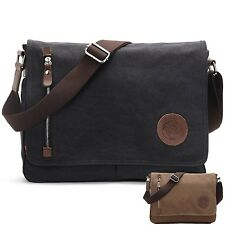 Good Quality Mens Leather Canvas English Satchel Messenger Travelling Bag mbag12