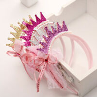 Girls Hair Bands Pearls Resin Lace Bow Ribbon Crown Princess Kids Accessories&BD