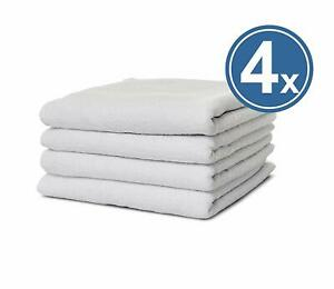4 X Hand Towel Terry Towel 50x100 White 100% Cotton Smooth Terry Hotel Quality