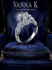 Gorgeous $12,000 Vanna K Princess Cut Diamond Ring w/ 1.04ct SI3 G Center 18K WG
