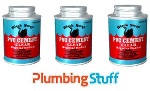Black Swan PVC Cement - Plumbers Solvent Weld Glue 118ml TRIPLE PACK