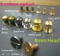 10/20/50/100x Round head 8mm Screwback  Rivet Stud Button DIY Leather Belt Craft