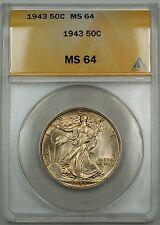 1943 Walking Liberty Silver Half Dollar 50c Coin ANACS MS-64 GK