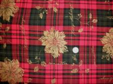 Christmas Tablecloth 52 X 66 Woven  Plaid Gold Poinsettia Linen Weave