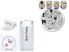 2pcs Born Pretty Cartoon Cat Bear Nail Art Stamp Plate Stamper Scraper Tool Kit