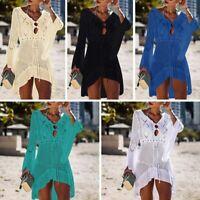 Women Lace Crochet Bikini Swimwear Cover Up Beach Lace Dress Summer Sundress