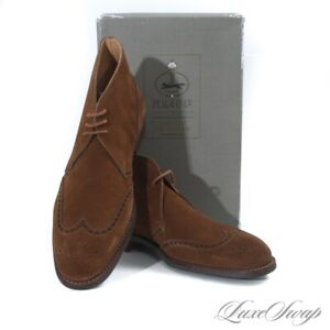 NIB $748 Brooks Brothers Peal & Co England C&J 224 Snuff Suede Wingtip Boots 11