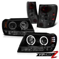 1999-2004 Jeep Grand Cherokee V8 Headlights Halo LED Black Smoke Tail Lights 4x4