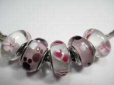 5 Pandora Silver 925 Ale Disney Minnie Pink Cherry Wild Hearts Glass Bead Charms