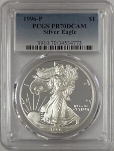 1996 P American Silver Eagle PCGS PR70DCAM