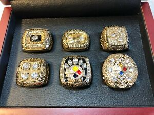 6 Pittsburgh Steelers Super Bowl Replica Player Ring Set Harris Bradshaw Jones