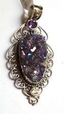 Amazing Druzy Crystal, Amethyst, Citrine Pendant! Sterling Silver 925 Drusy